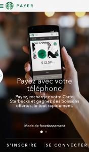 Application Starbucks écran d'accueil