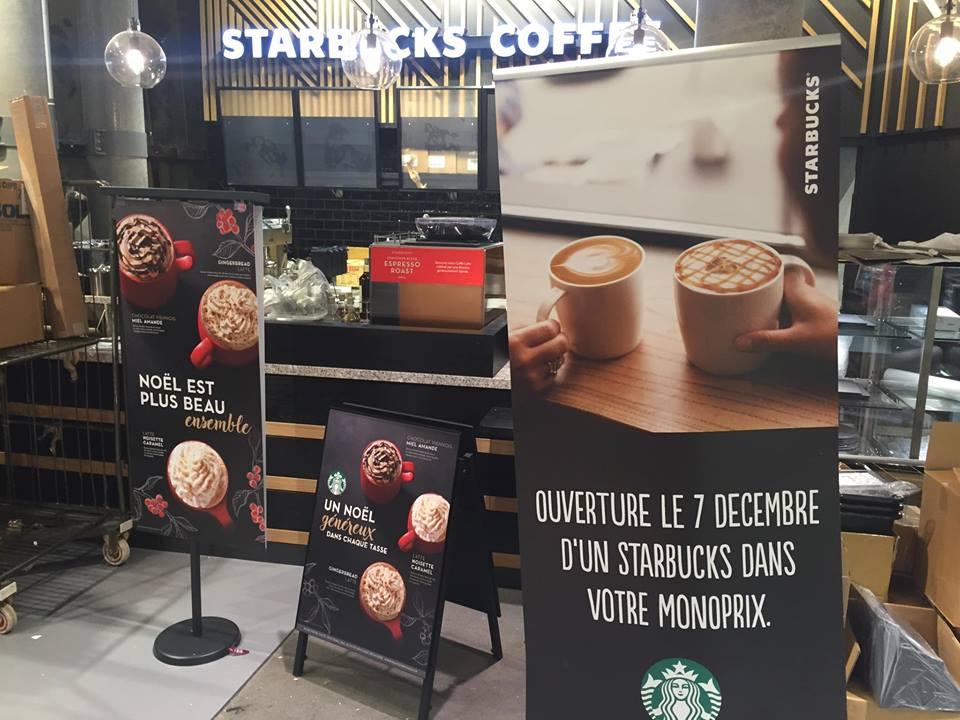 Ouverture le 7 décembre pour Starbucks chez Monoprix